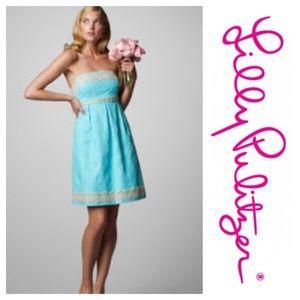 Lilly Pulitzer aqua strapless dress. Size 6